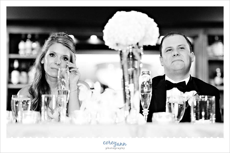 bride and groom crying during toasts in sharon pa