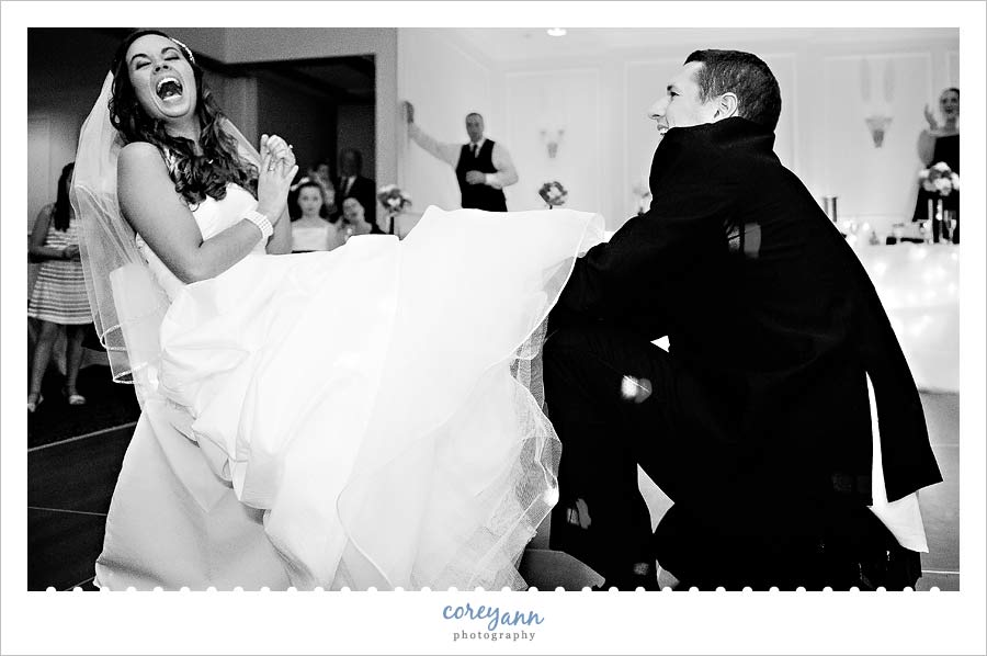 garter removal at wedding reception at courtyard by marriott in canton ohio
