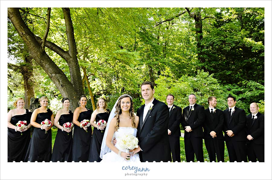 black and pink wedding bridal party at canton garden center
