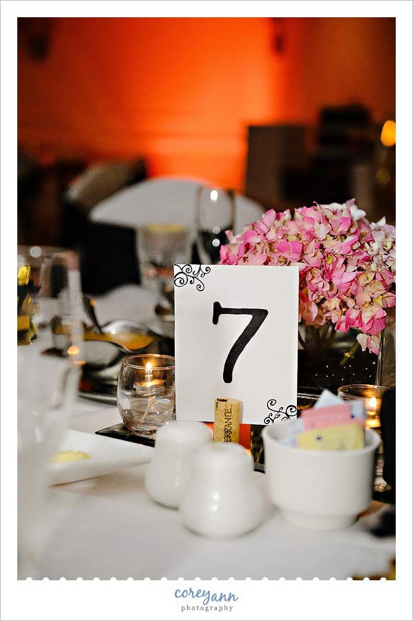pink hydrangea centerpieces with pink uplighting at reception in canton ohio