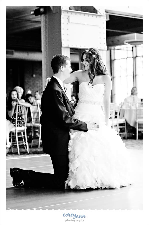 bride and groom choreographed first dance at wedding reception