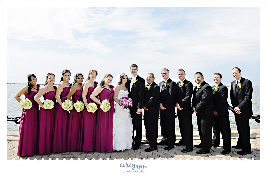purple bridal party at voinovich park in cleveland ohio