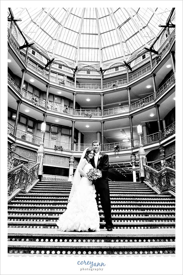 bride and groom at the hyatt arcade in downtown cleveland