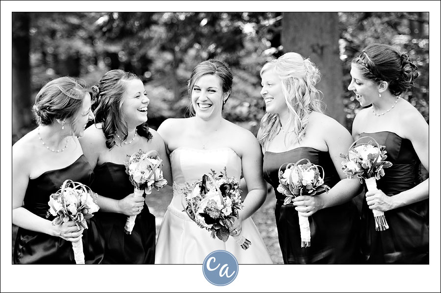 bride and bridesmaids laughing in mansfield ohio
