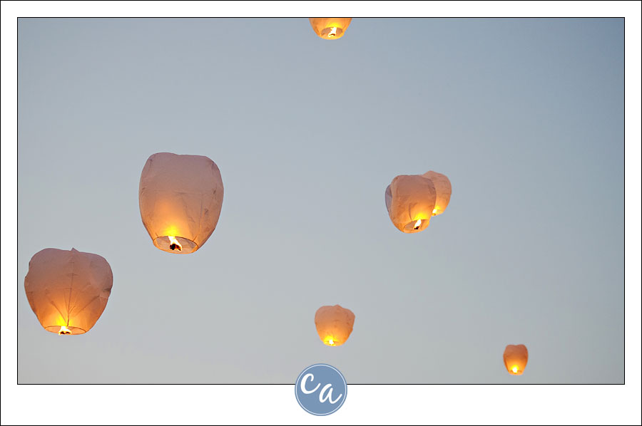 close up of wish lanterns in the sky after being released in Ohio