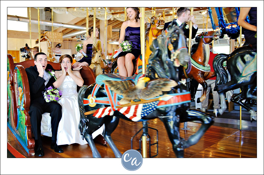 bride and groom on carousel in mansfield ohio