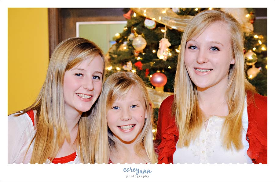 three sisters portrait in hudson ohio at christmas