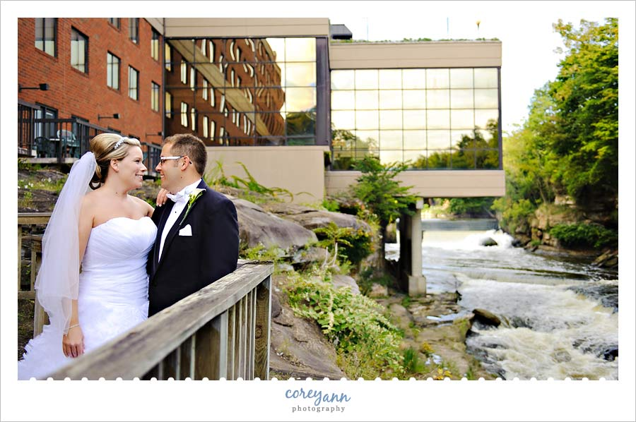 bride and groom at sharaton suites in cuyahoga falls