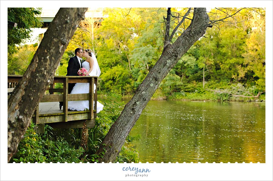 bride and groom on the cuyahoga river in cuyahoga falls