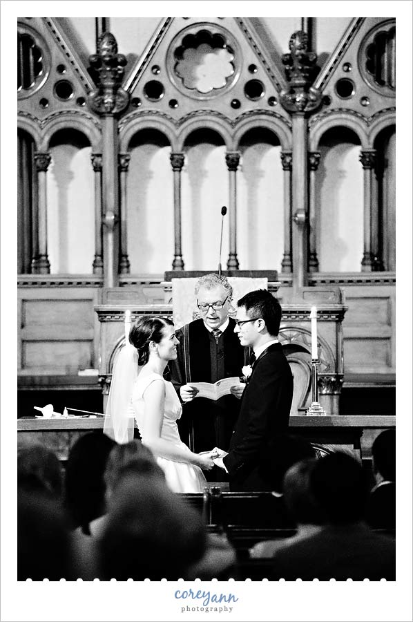 wedding ceremony at old stone church in Cleveland ohio