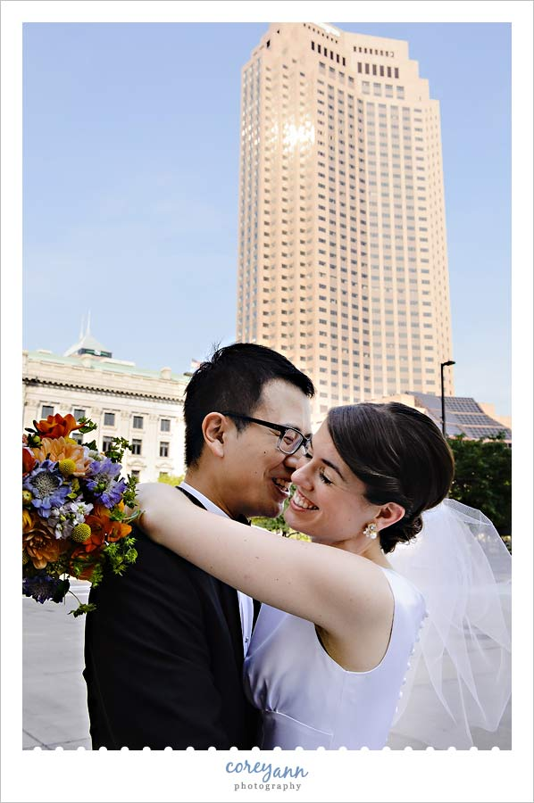 bride and groom after wedding in cleveland ohio