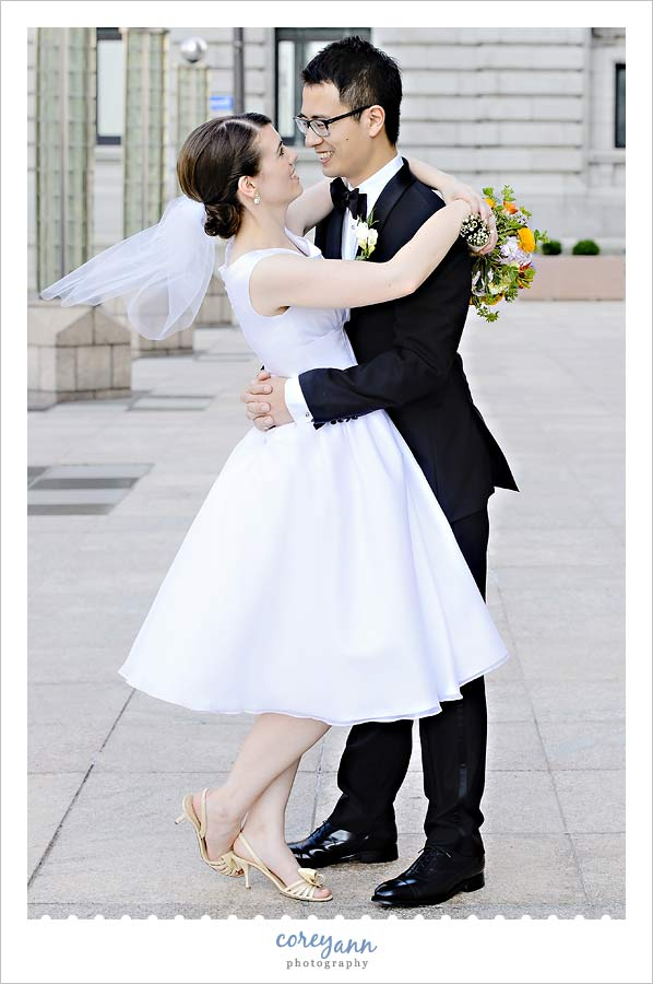 bride with short wedding dress in cleveland ohio
