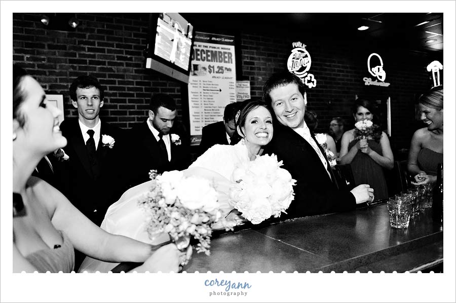 bride and groom at the public house in cleveland ohio