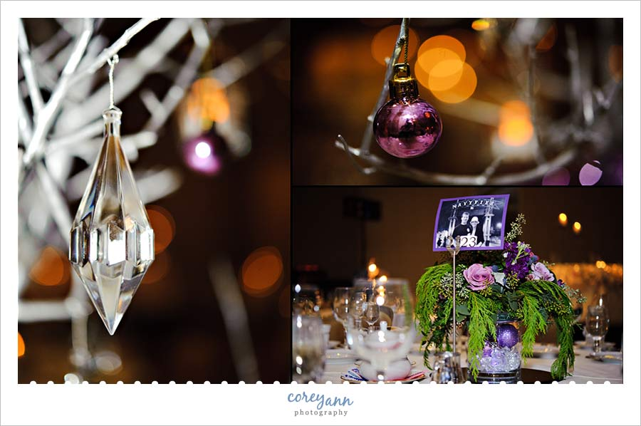 silver and purple wedding details from a winter wedding in ohio