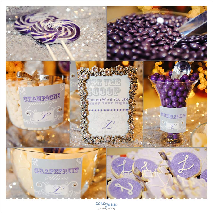 purple and white candy buffet in Westlake ohio
