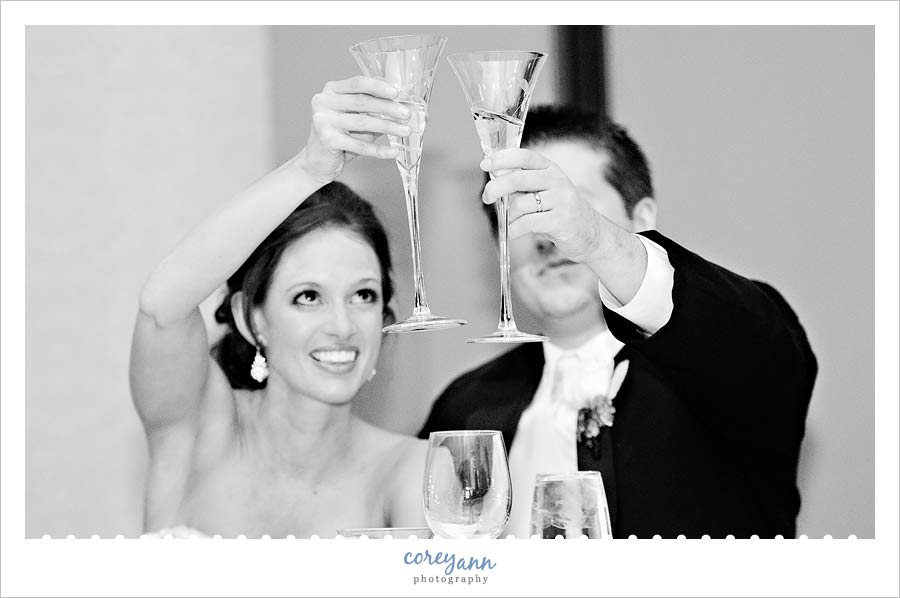 bride and groom toasting at the reception