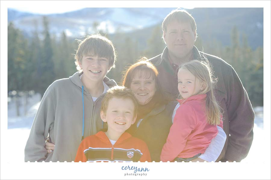 family portrait at echo lake near mount evans in colorado